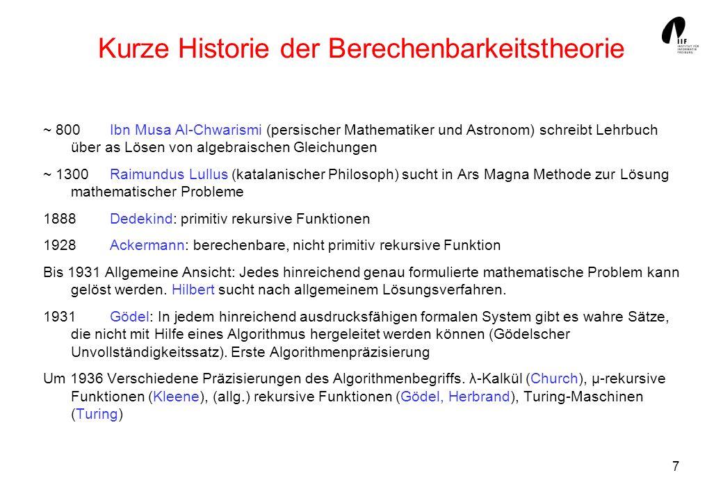 Kurze Historie der Berechenbarkeitstheorie