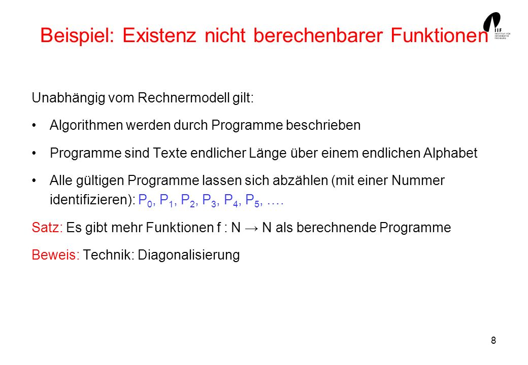 Beispiel: Existenz nicht berechenbarer Funktionen