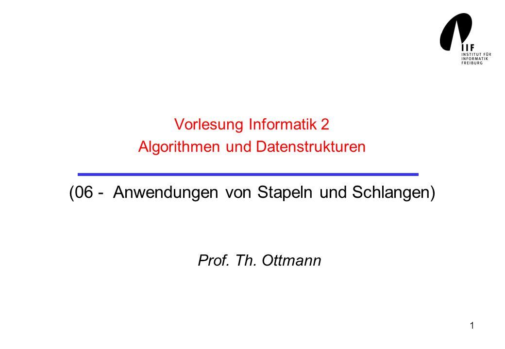 Vorlesung Informatik 2 Algorithmen und Datenstrukturen (06 - Anwendungen von Stapeln und Schlangen)