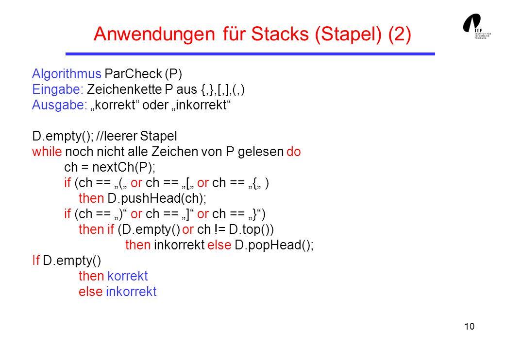 Anwendungen für Stacks (Stapel) (2)