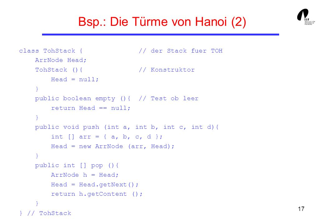 Bsp.: Die Türme von Hanoi (2)