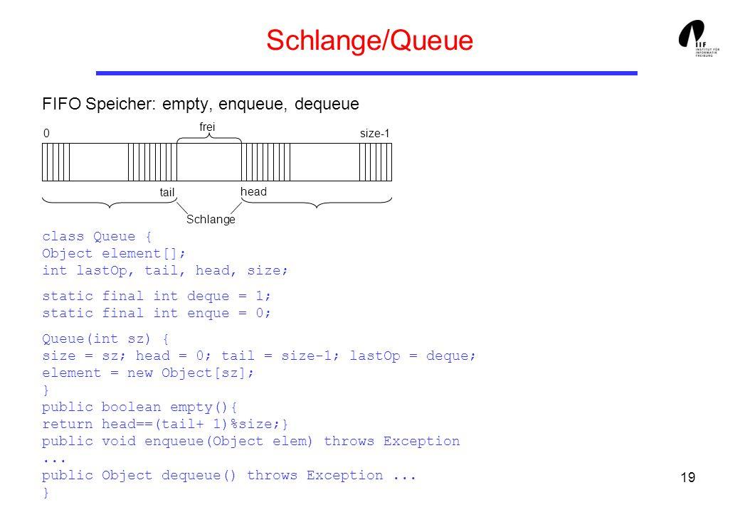 Schlange/Queue FIFO Speicher: empty, enqueue, dequeue