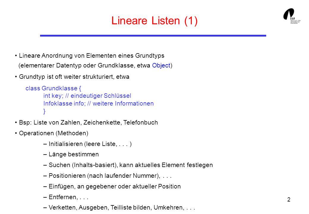 Lineare Listen (1) Lineare Anordnung von Elementen eines Grundtyps