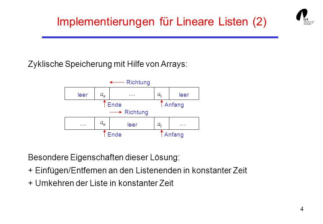 Implementierungen für Lineare Listen (2)