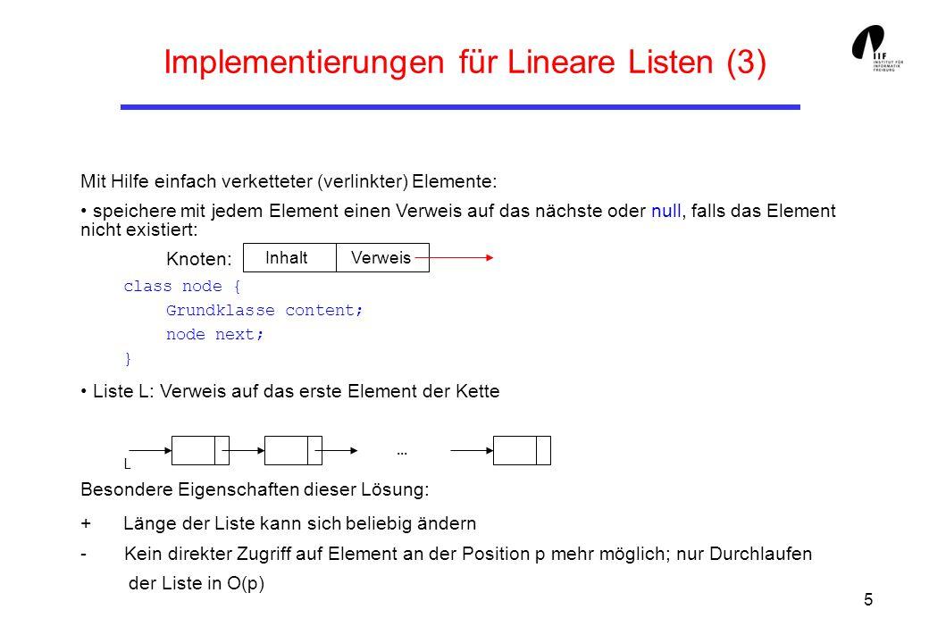 Implementierungen für Lineare Listen (3)