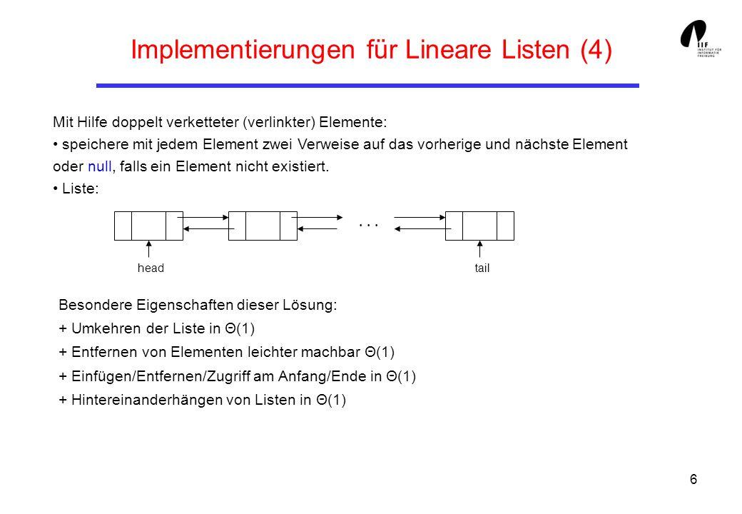 Implementierungen für Lineare Listen (4)