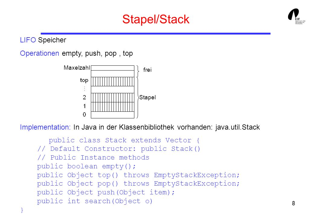 Stapel/Stack LIFO Speicher Operationen empty, push, pop , top