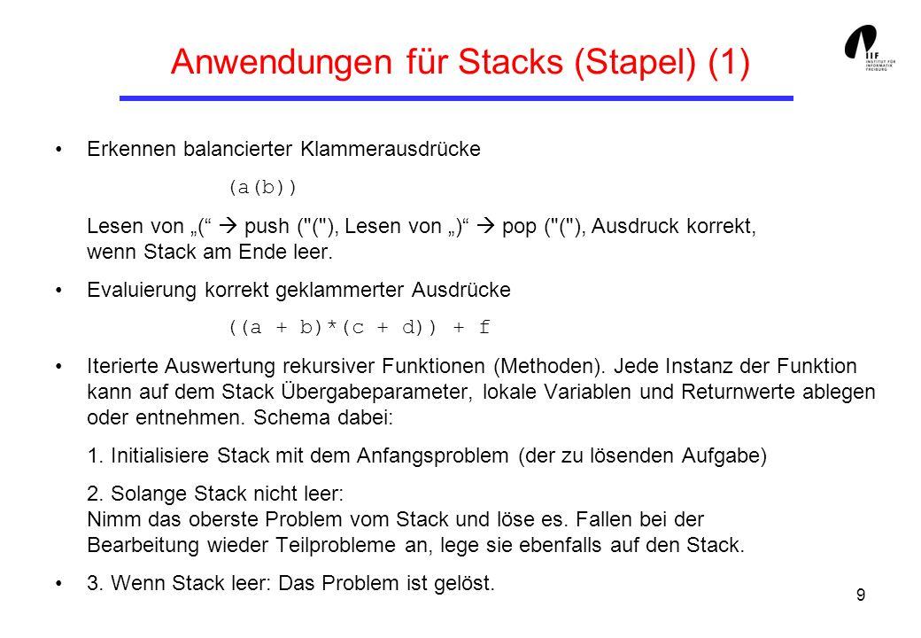 Anwendungen für Stacks (Stapel) (1)