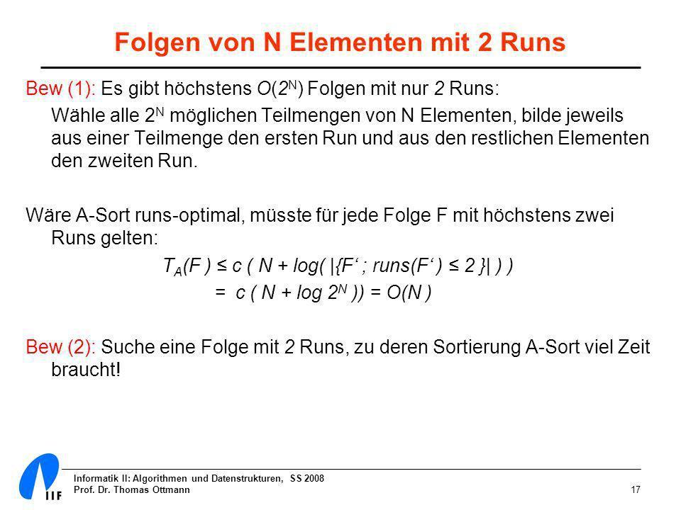 Folgen von N Elementen mit 2 Runs