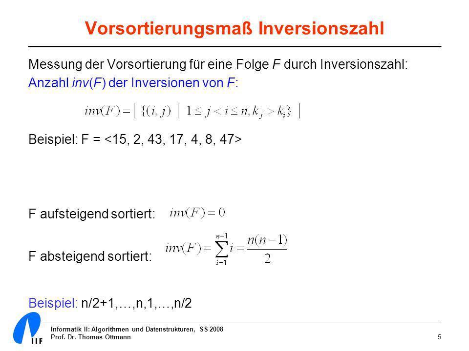 Vorsortierungsmaß Inversionszahl