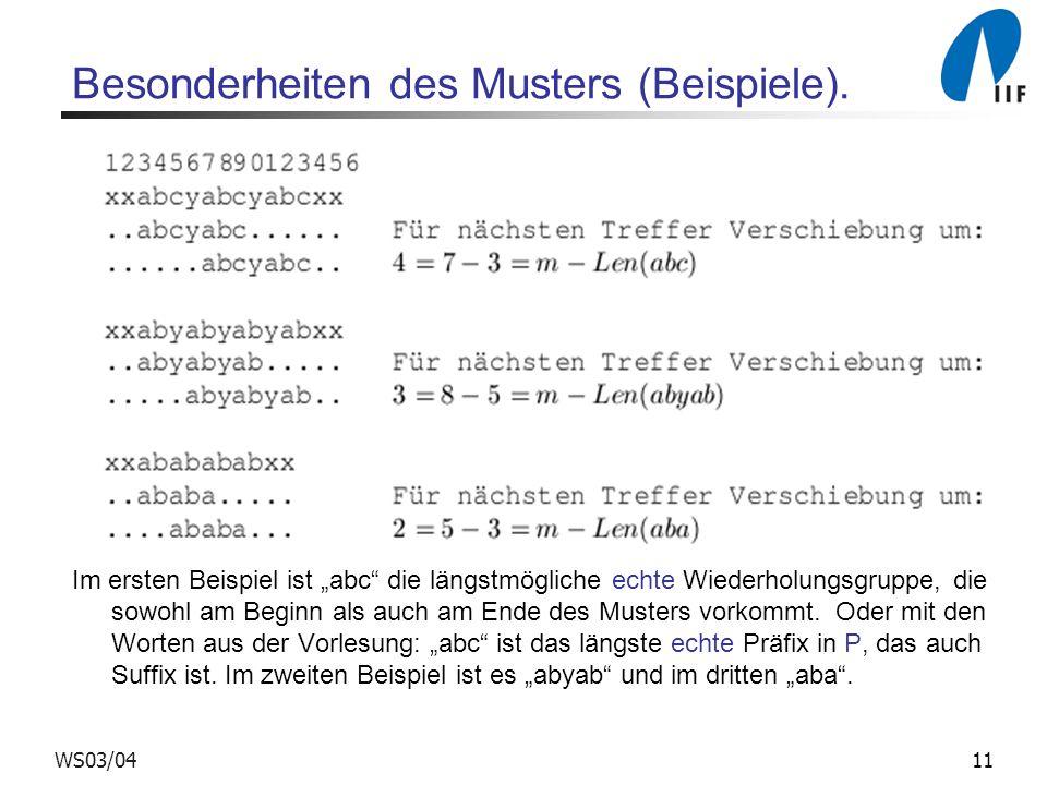 Besonderheiten des Musters (Beispiele).