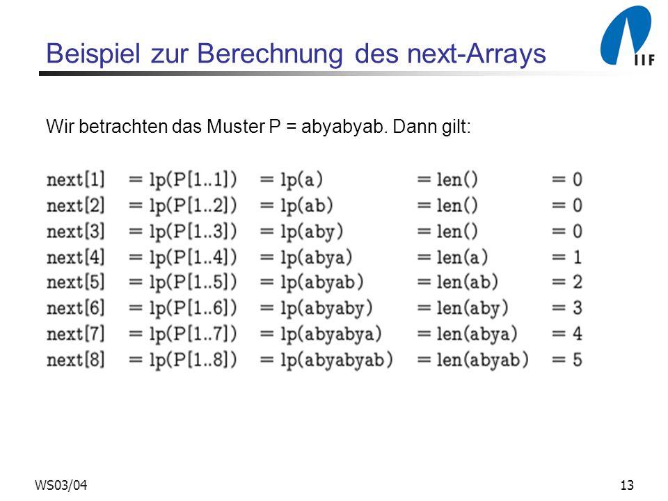 Beispiel zur Berechnung des next-Arrays