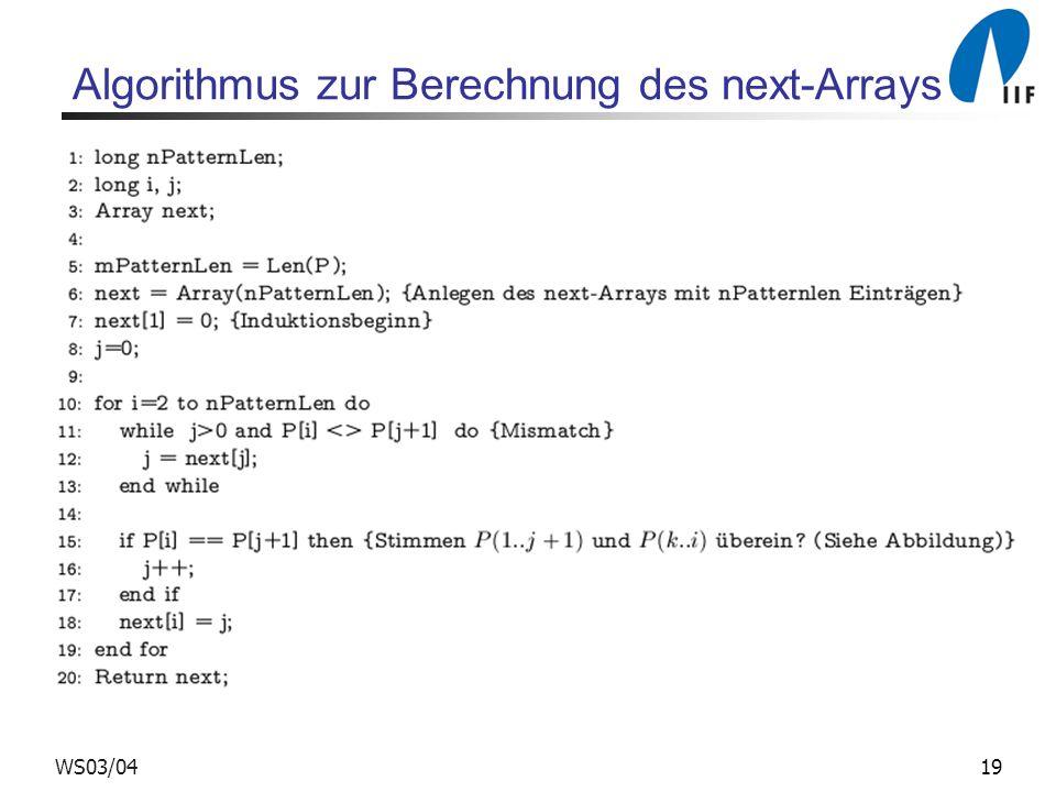 Algorithmus zur Berechnung des next-Arrays