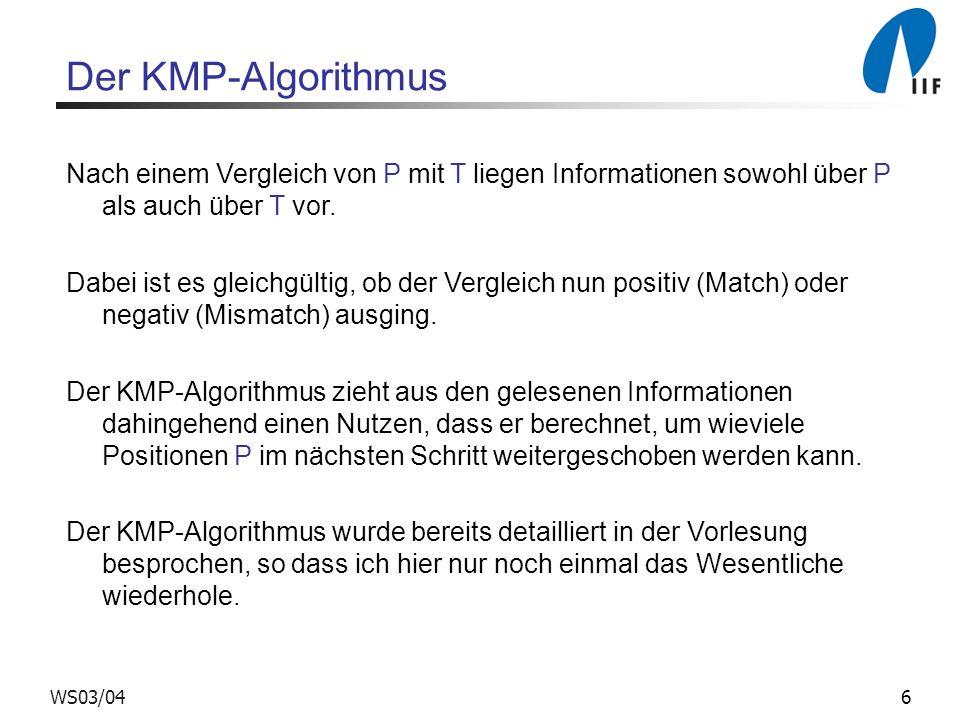 Der KMP-Algorithmus Nach einem Vergleich von P mit T liegen Informationen sowohl über P als auch über T vor.