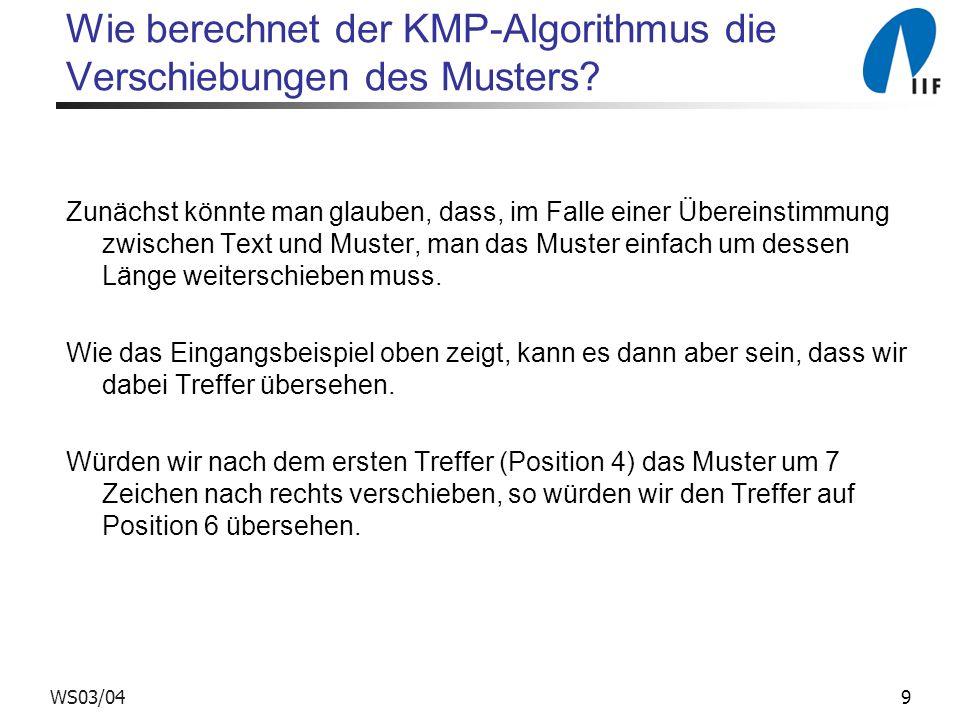 Wie berechnet der KMP-Algorithmus die Verschiebungen des Musters