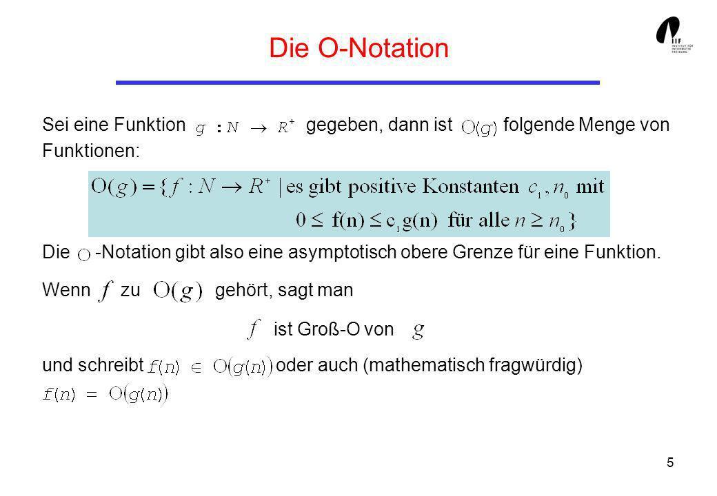 Die O-Notation Sei eine Funktion gegeben, dann ist folgende Menge von Funktionen: