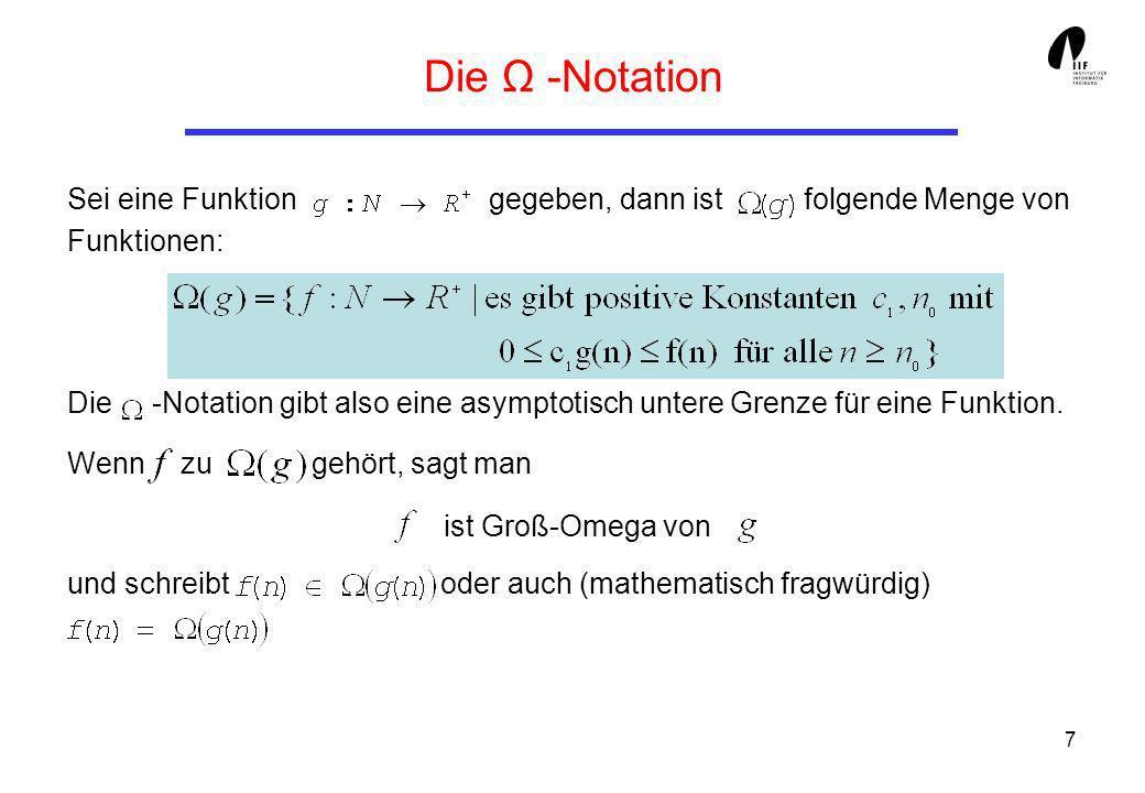 Die Ω -Notation Sei eine Funktion gegeben, dann ist folgende Menge von Funktionen: