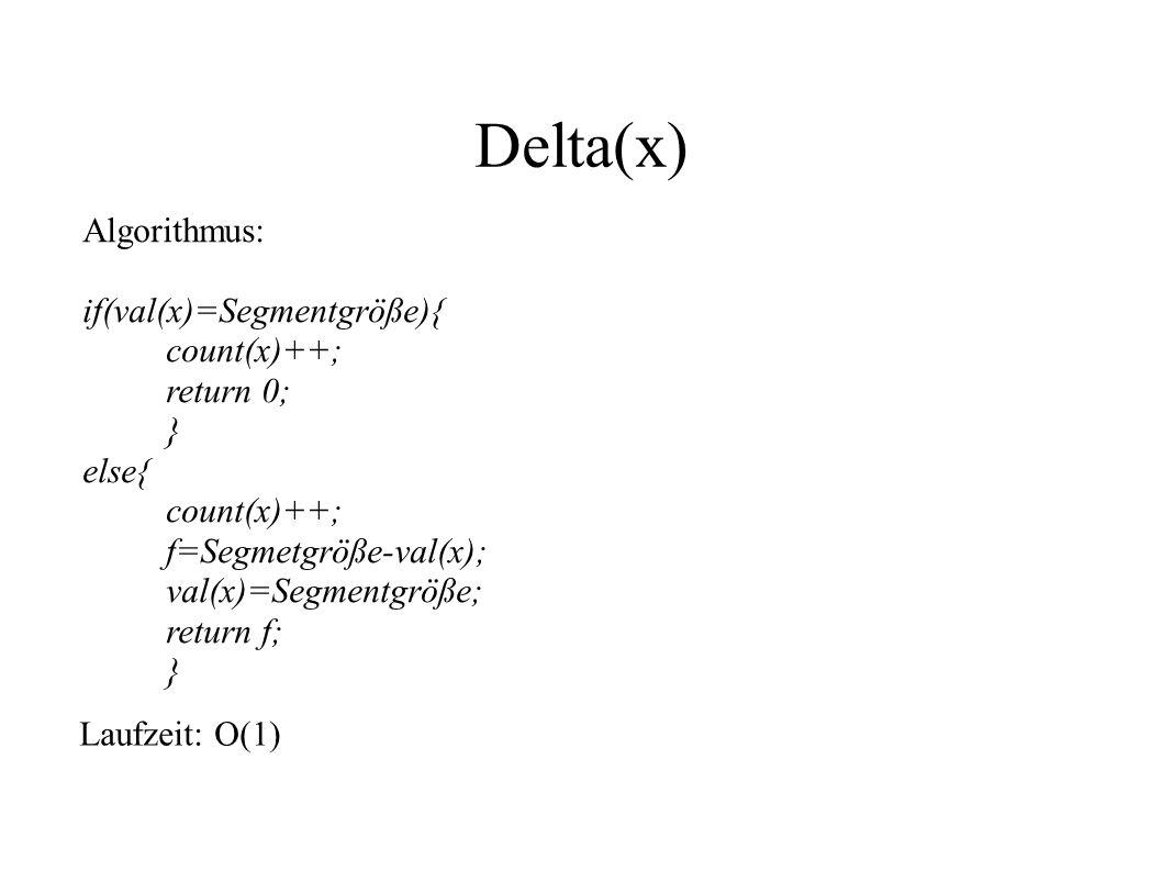 Delta(x) Algorithmus: if(val(x)=Segmentgröße){ count(x)++; return 0; }