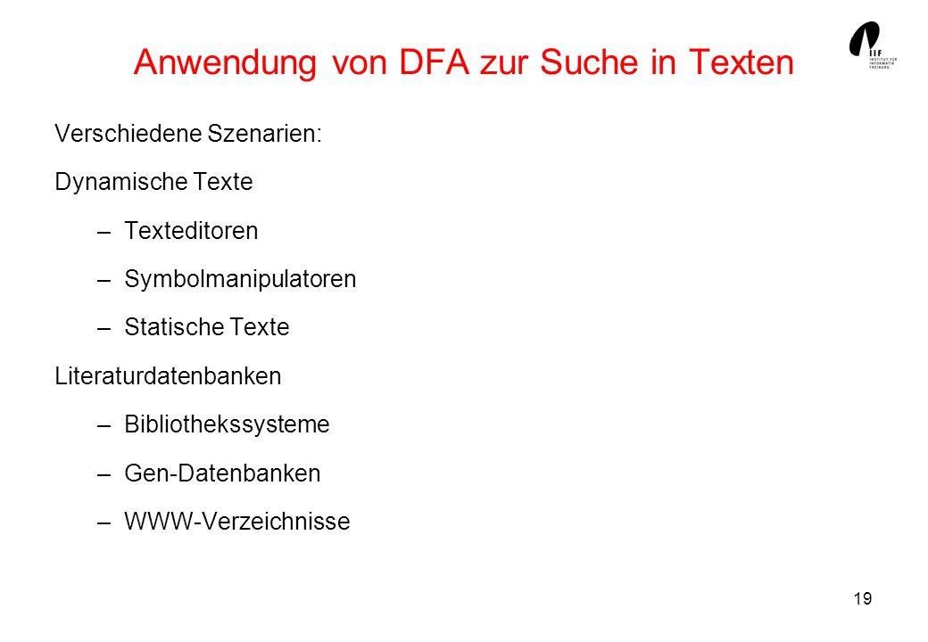 Anwendung von DFA zur Suche in Texten