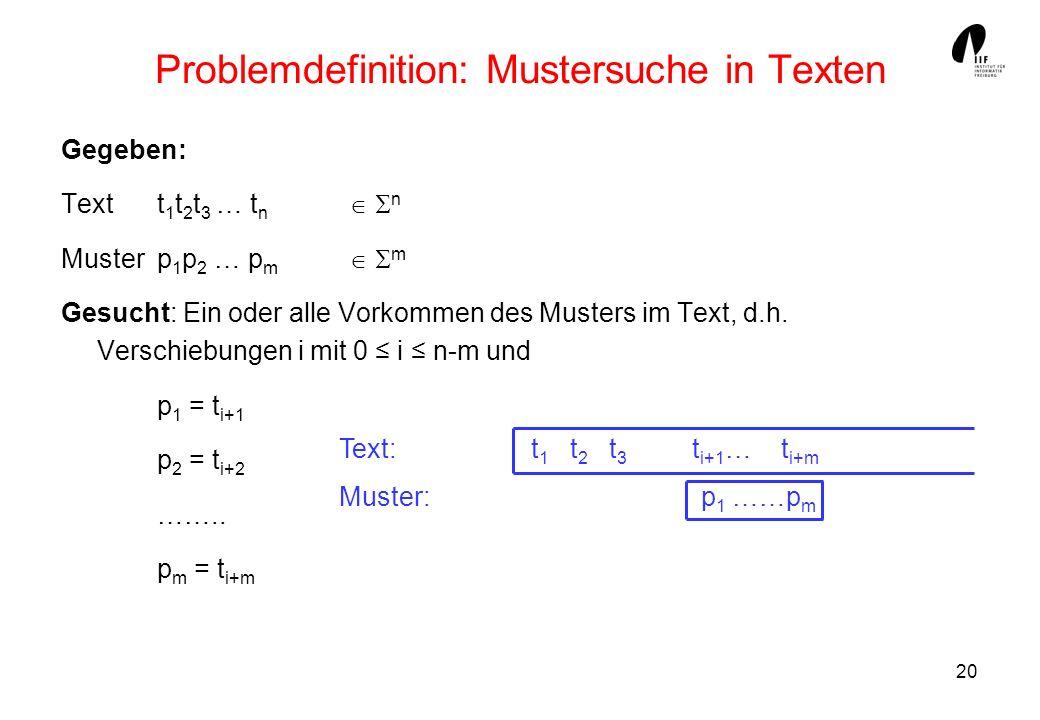 Problemdefinition: Mustersuche in Texten