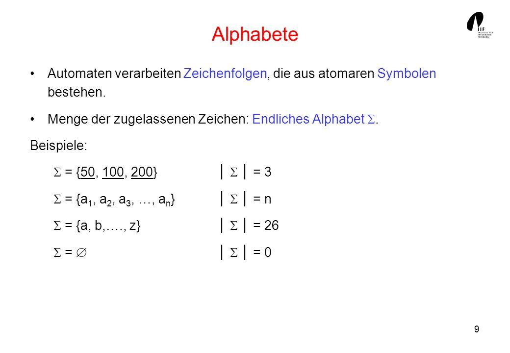 Alphabete Automaten verarbeiten Zeichenfolgen, die aus atomaren Symbolen bestehen. Menge der zugelassenen Zeichen: Endliches Alphabet .