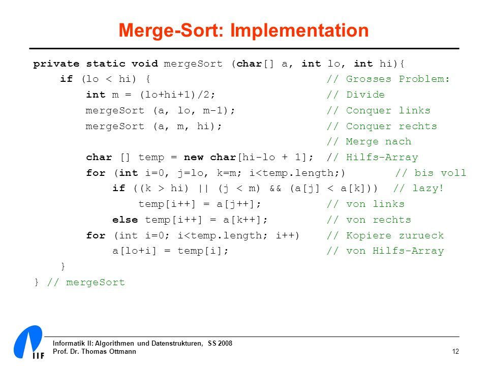 Merge-Sort: Implementation