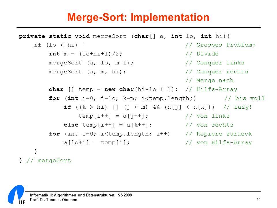 Merge-Sort: Implementation