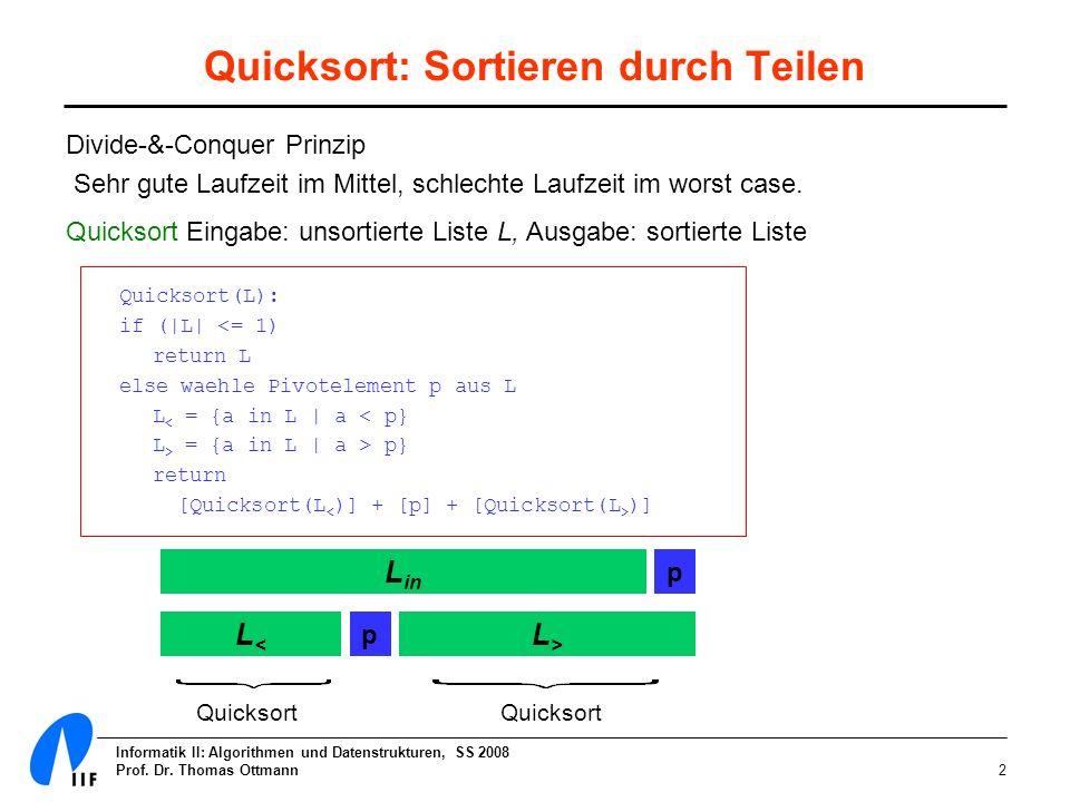 Quicksort: Sortieren durch Teilen