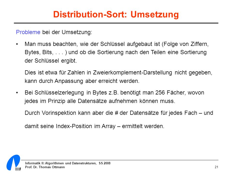 Distribution-Sort: Umsetzung