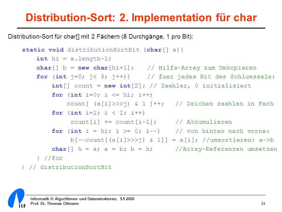 Distribution-Sort: 2. Implementation für char