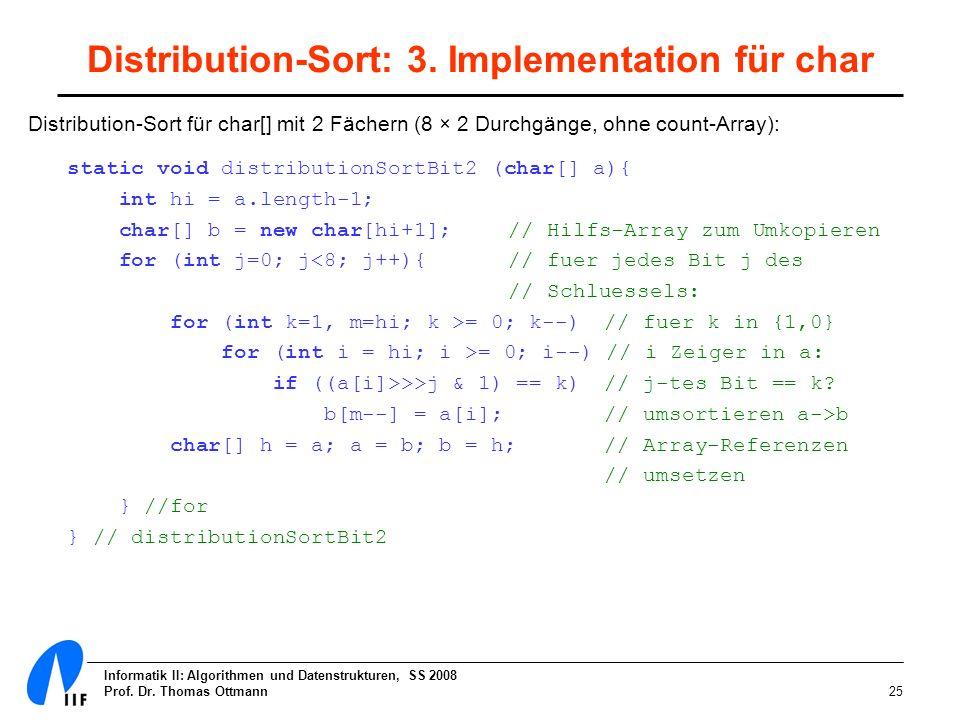 Distribution-Sort: 3. Implementation für char