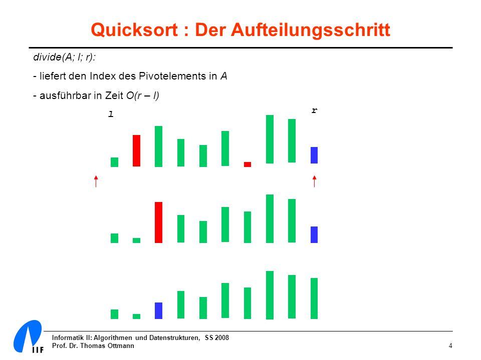 Quicksort : Der Aufteilungsschritt