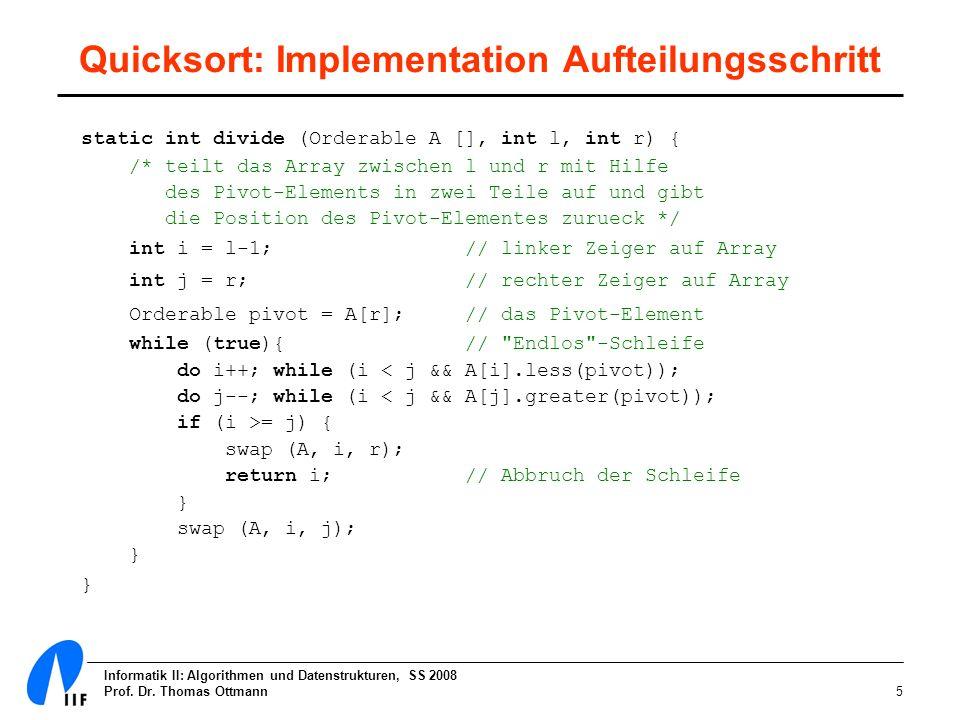 Quicksort: Implementation Aufteilungsschritt