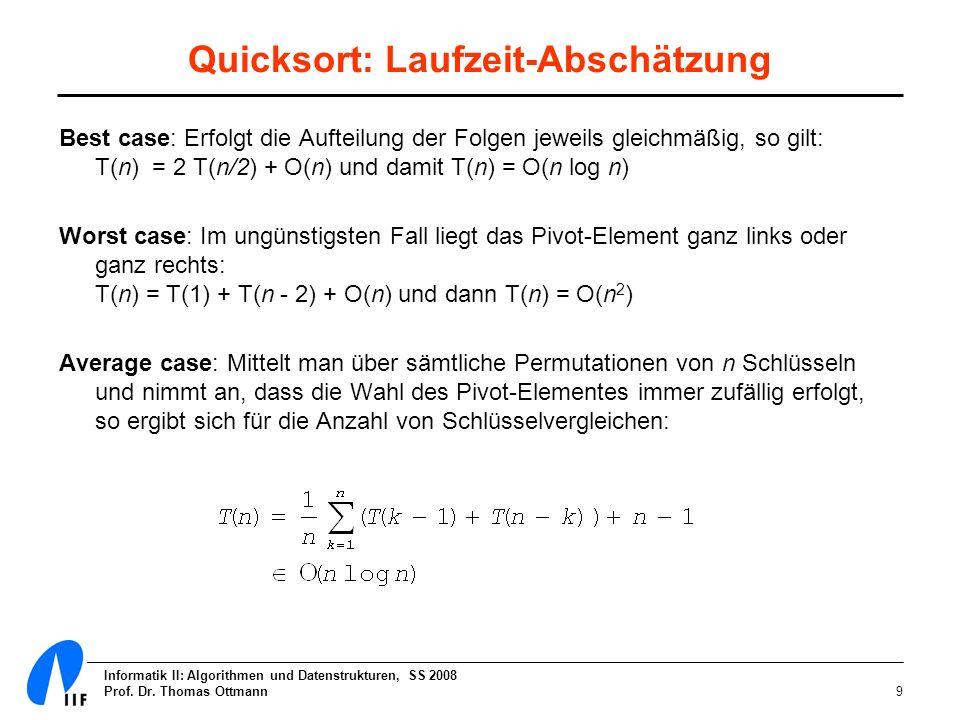 Quicksort: Laufzeit-Abschätzung