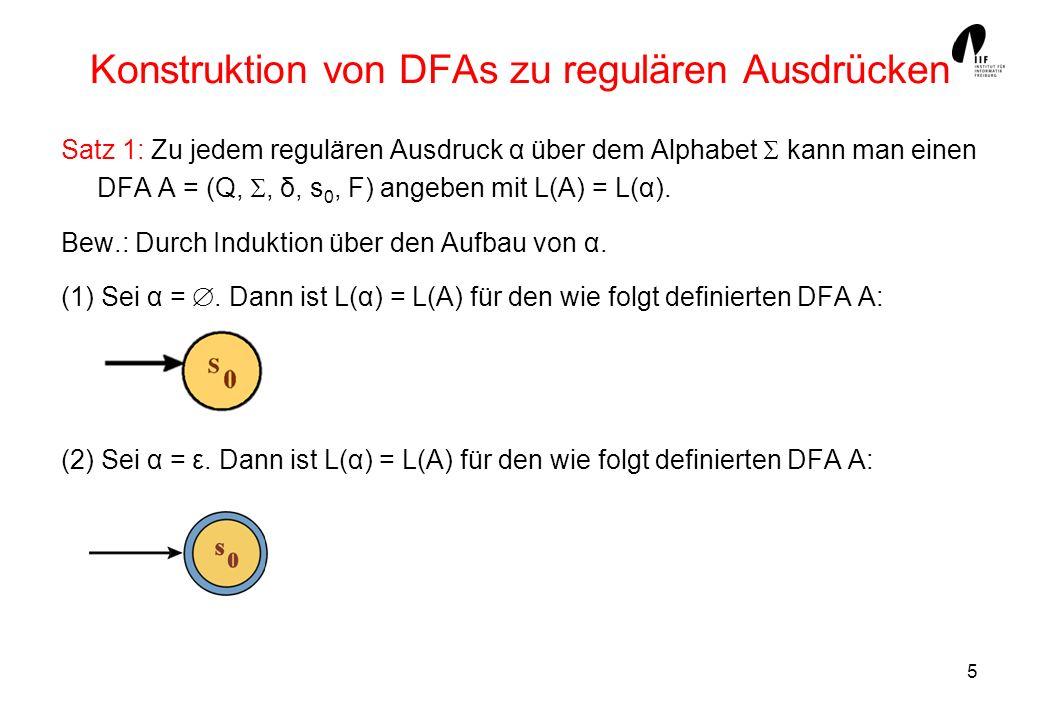 Konstruktion von DFAs zu regulären Ausdrücken