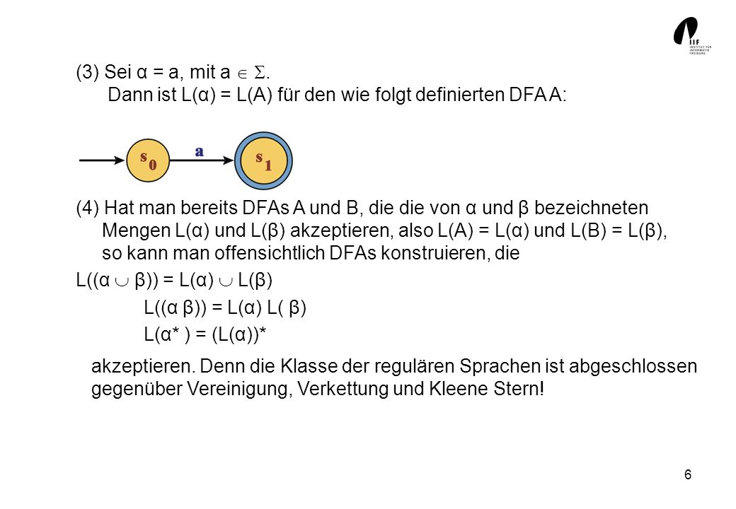 (3) Sei α = a, mit a  . Dann ist L(α) = L(A) für den wie folgt definierten DFA A: