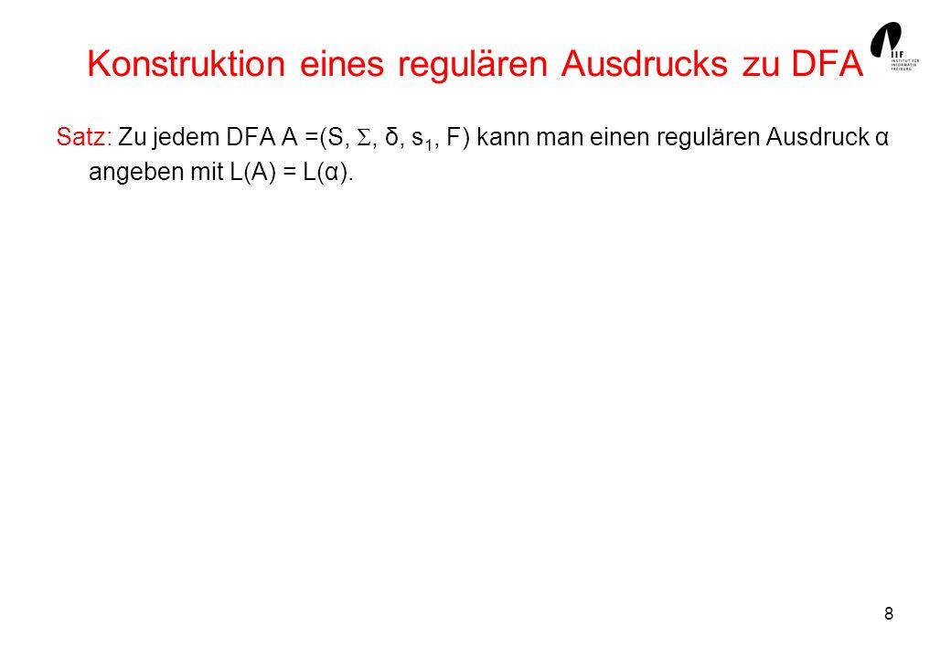 Konstruktion eines regulären Ausdrucks zu DFA