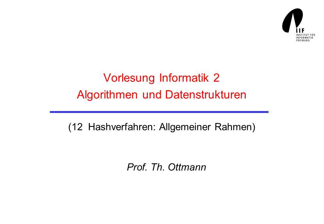 Vorlesung Informatik 2 Algorithmen und Datenstrukturen (12 Hashverfahren: Allgemeiner Rahmen)