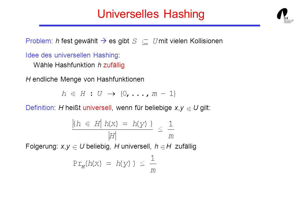 Universelles Hashing Problem: h fest gewählt  es gibt mit vielen Kollisionen.