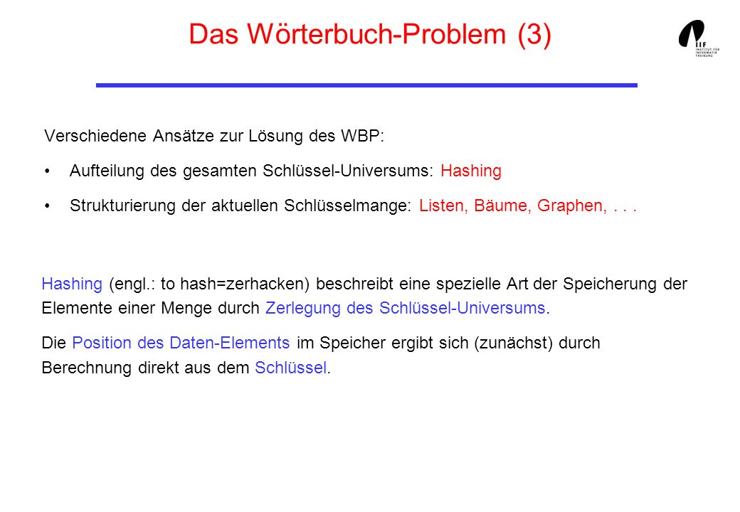 Das Wörterbuch-Problem (3)
