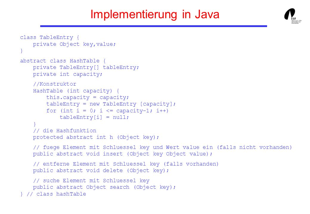 Implementierung in Java