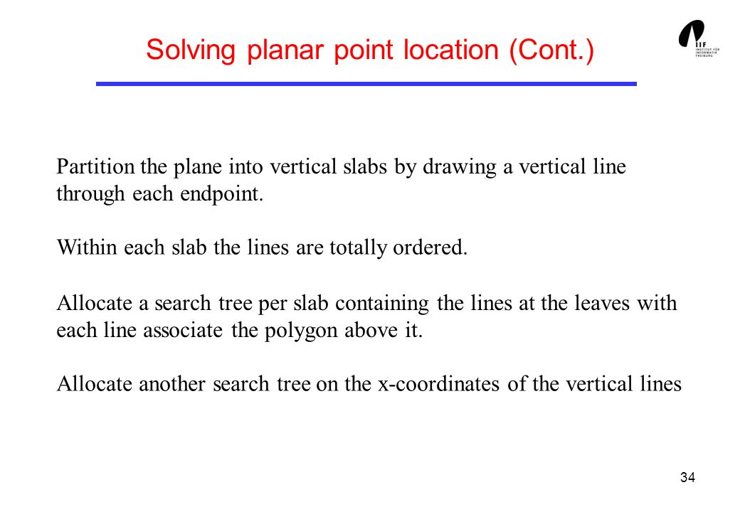 Solving planar point location (Cont.)