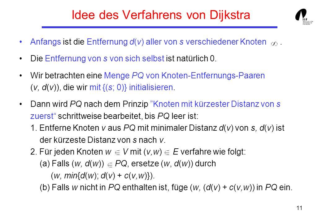 Idee des Verfahrens von Dijkstra