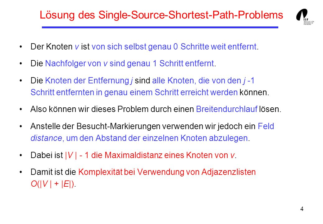 Lösung des Single-Source-Shortest-Path-Problems