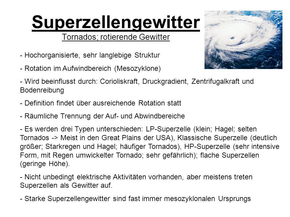 Superzellengewitter Tornados; rotierende Gewitter