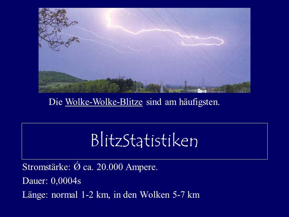 BlitzStatistiken Die Wolke-Wolke-Blitze sind am häufigsten.