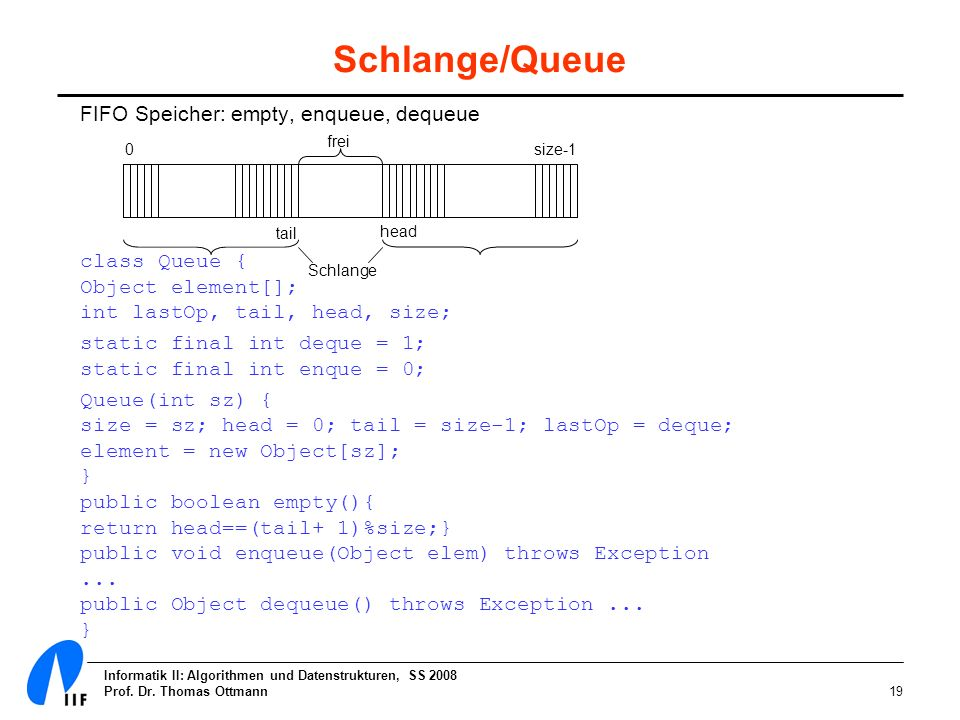 Schlange/Queue FIFO Speicher: empty, enqueue, dequeue