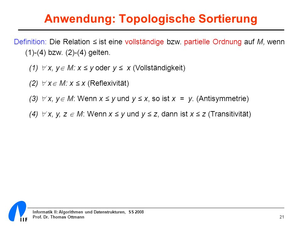 Anwendung: Topologische Sortierung