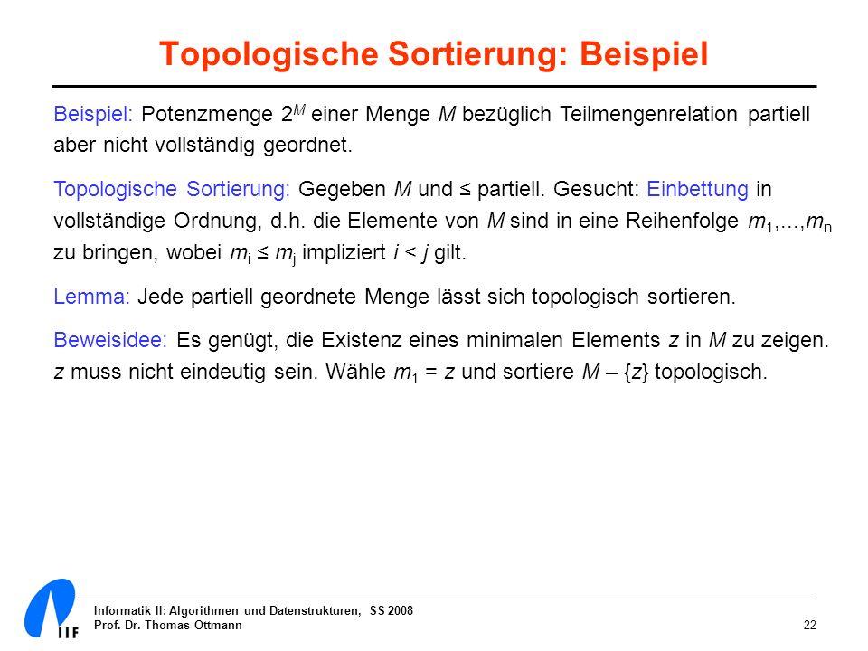 Topologische Sortierung: Beispiel