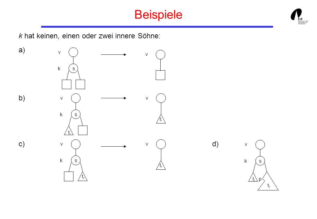 Beispiele k hat keinen, einen oder zwei innere Söhne: a) b) c) d) v v